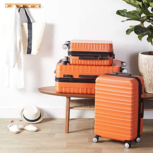 51xkTeiSUrL. AC  - Amazon Basics Premium Hardside Spinner Suitcase Luggage with Wheels - 20-Inch, 28-Inch, Orange