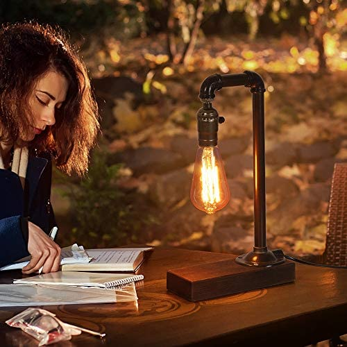 51yNzHVUT+L. AC  - HAITRAL Retro Vintage Table Lamp- Industrial Loft Style Steam Punk Lamp with Wood Base Iron Piping Desk Lamp for Bedside, Living Room, Kitchen, Café, Store, Pub, Dorm (Bulb Not Included)