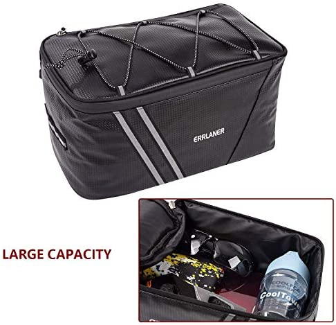 51yPu9qA pL. AC  - ERRLANER Bicycle Rack Rear Carrier Bag Insulated Trunk Cooler PU Leather Waterproof 11L/7L Large Capacity Storage Luggage Pouch Reflective MTB Bike Pannier Shoulder Bag with Rain Cover