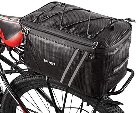 51zW4AJhdVL. AC  - ERRLANER Bicycle Rack Rear Carrier Bag Insulated Trunk Cooler PU Leather Waterproof 11L/7L Large Capacity Storage Luggage Pouch Reflective MTB Bike Pannier Shoulder Bag with Rain Cover