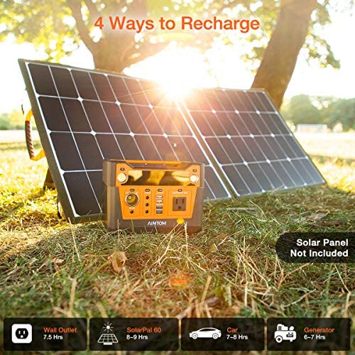 611d2vNUY3L. AC  - AIMTOM 300-Watt Portable Power Station - 280Wh Battery Powered Generator Alternative with 12V, 24V, AC and USB Outputs - Solar Rechargeable Lithium Backup Power - for Camping Outdoors RV Emergency