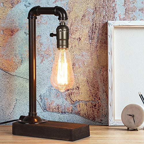 61FEYmQsQdL. AC  - HAITRAL Retro Vintage Table Lamp- Industrial Loft Style Steam Punk Lamp with Wood Base Iron Piping Desk Lamp for Bedside, Living Room, Kitchen, Café, Store, Pub, Dorm (Bulb Not Included)