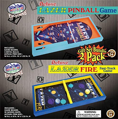 61TudAvNYiL. AC  - Matty's Toy Stop Deluxe Wood Tabletop Neon Lazer Space Pinball & Neon Lazer Space Fire Fast-Track Games Gift Set Bundle - 2 Pack