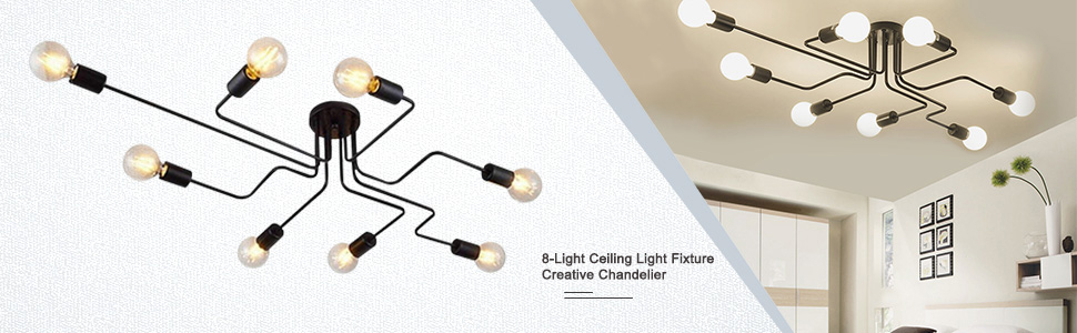 62f6828b 74a0 4ad6 8e1f 28832952ca16. CR0,0,970,300 PT0 SX970   - Lingkai Industrial Ceiling Light Vintage Chandelier Metal Pendant Light Creative Retro 8-Light Chandelier Lighting Fixture