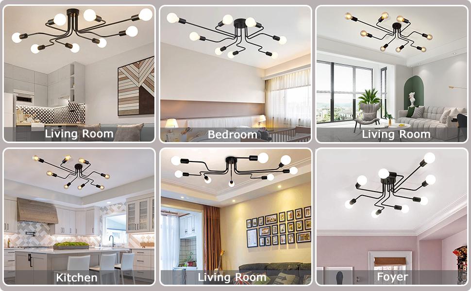 9eebcc94 31b8 409f 9900 83c641be912d.  CR0,0,970,600 PT0 SX970 V1    - Lingkai Industrial Ceiling Light Vintage Chandelier Metal Pendant Light Creative Retro 8-Light Chandelier Lighting Fixture