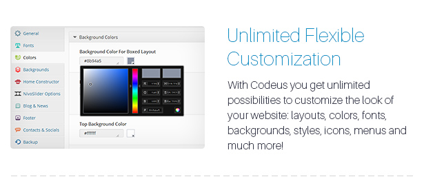 Description 08 - Codeus — Multi-Purpose Responsive Wordpress Theme