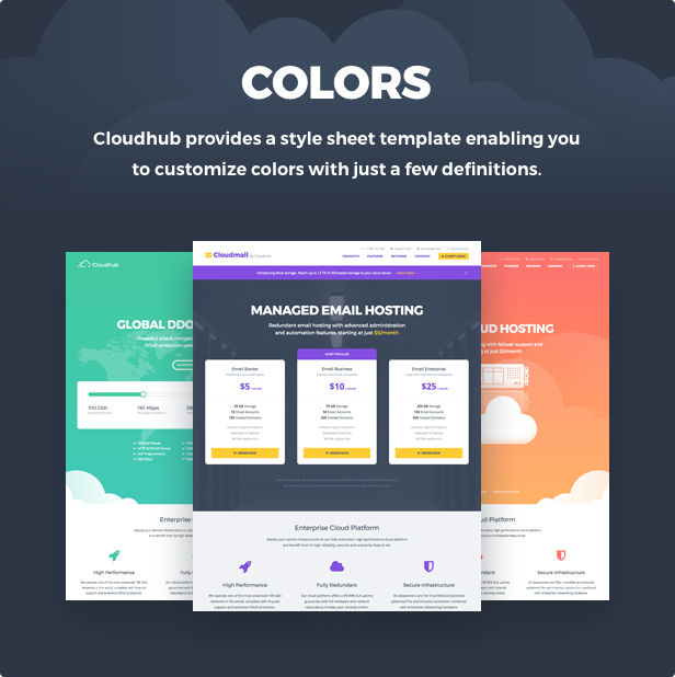 banner colors - Cloudhub - Hosting and Technology HTML Template