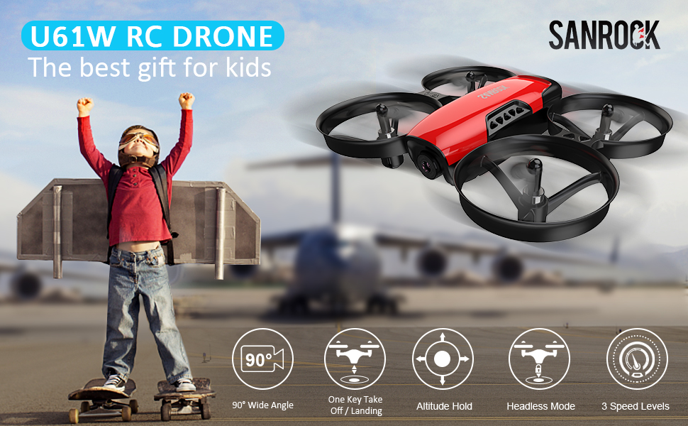 c977a5d8 440d 4810 a593 b530e447f3e7.  CR0,0,970,600 PT0 SX970 V1    - SANROCK U61W Drones for Kids with Camera, Mini RC Drone Quadcopter with 720P HD WiFi FPV Camera, Support Altitude Hold, Route Making, Headless Mode, One-Key Start, Emergency Stop, Great Gift for Boys Girls