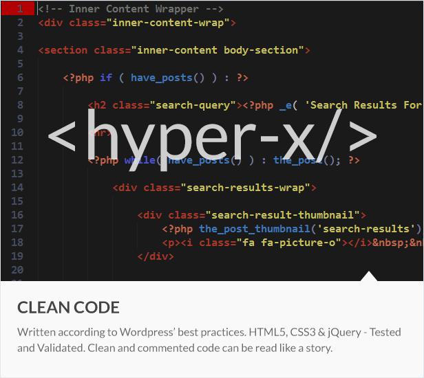 code - HyperX - Responsive Wordpress Portfolio Theme