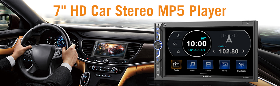 dad20f76 8b53 45e7 98c6 9d5a6ac94805.  CR0,0,970,300 PT0 SX970 V1    - 7 inch Double Din Digital Media Car Stereo Receiver,aboutBit Bluetooth 5.0 Touch Screen Car Radio MP5 Player Support Rear/Front-View Camera, AM/FM/MP3/USB/Subwoofer,Aux Input,Mirror Link