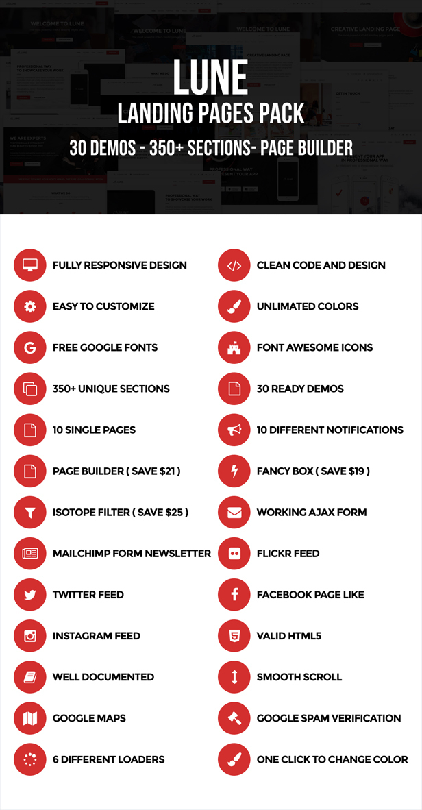 desc 001 - LUNE HTML5 Landing Pages Pack with Page Builder