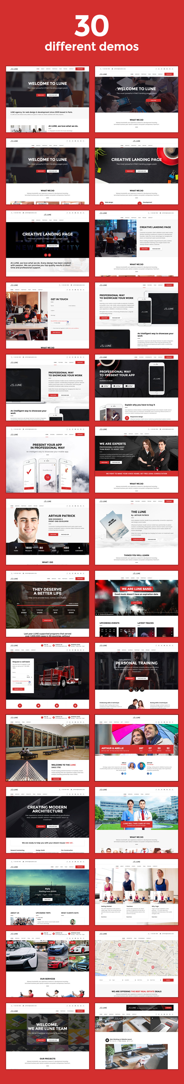 desc 002 - LUNE HTML5 Landing Pages Pack with Page Builder