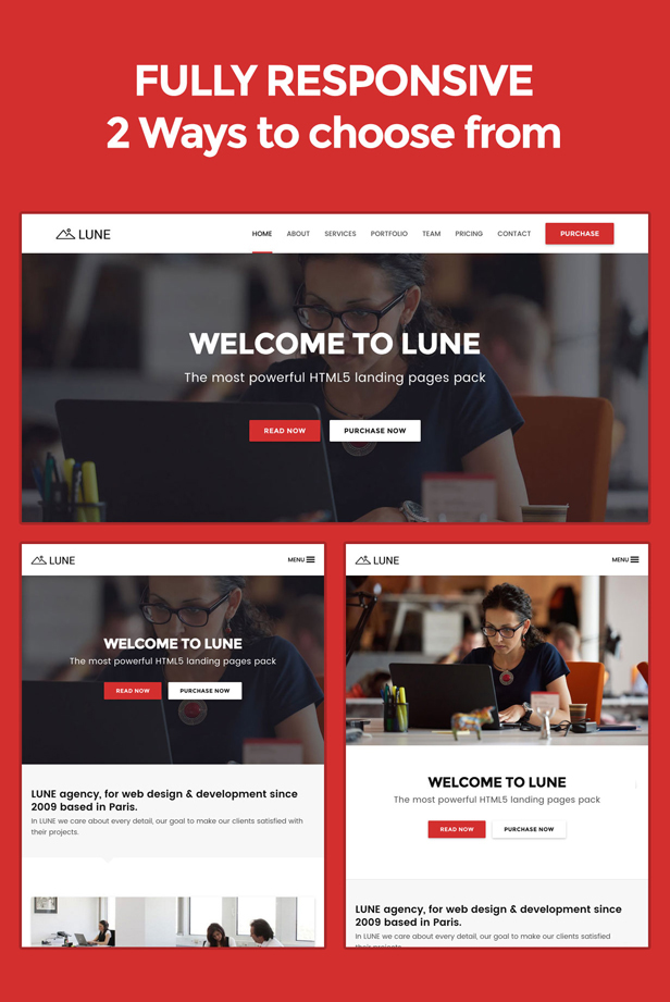desc 014 - LUNE HTML5 Landing Pages Pack with Page Builder