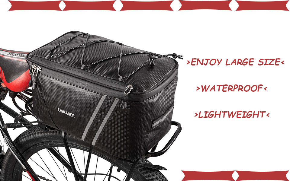 f5a2c198 0b30 421e 98c5 eed325e1e301.  CR0,0,970,600 PT0 SX970 V1    - ERRLANER Bicycle Rack Rear Carrier Bag Insulated Trunk Cooler PU Leather Waterproof 11L/7L Large Capacity Storage Luggage Pouch Reflective MTB Bike Pannier Shoulder Bag with Rain Cover