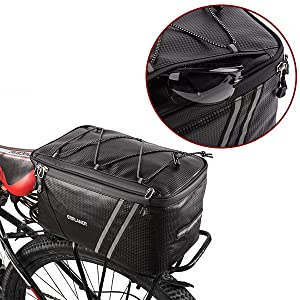 ff5d74cd 2255 4322 b4c9 e53a212c212b.  CR0,0,600,600 PT0 SX300 V1    - ERRLANER Bicycle Rack Rear Carrier Bag Insulated Trunk Cooler PU Leather Waterproof 11L/7L Large Capacity Storage Luggage Pouch Reflective MTB Bike Pannier Shoulder Bag with Rain Cover
