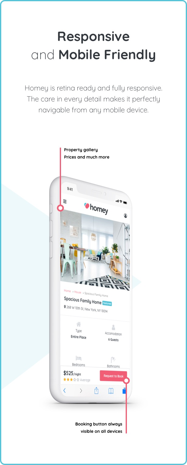 mobile - Homey - Booking and Rentals WordPress Theme