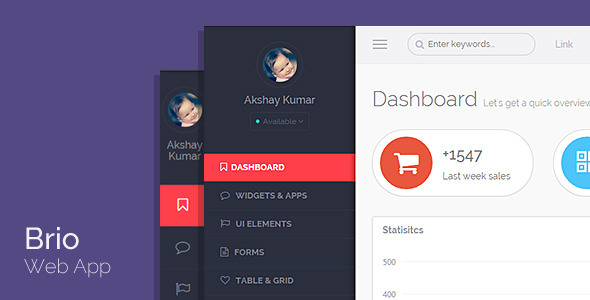 preview.  large preview - Brio Web App - Bootstrap Admin Template Dashboard