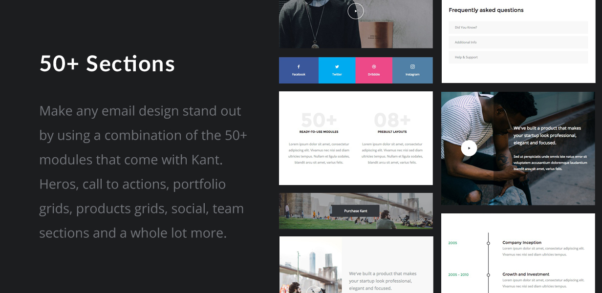 tf profile sections - Kant - Responsive Email for Startups: 50+ Sections + MailChimp + Mailster + Shopify Notifications