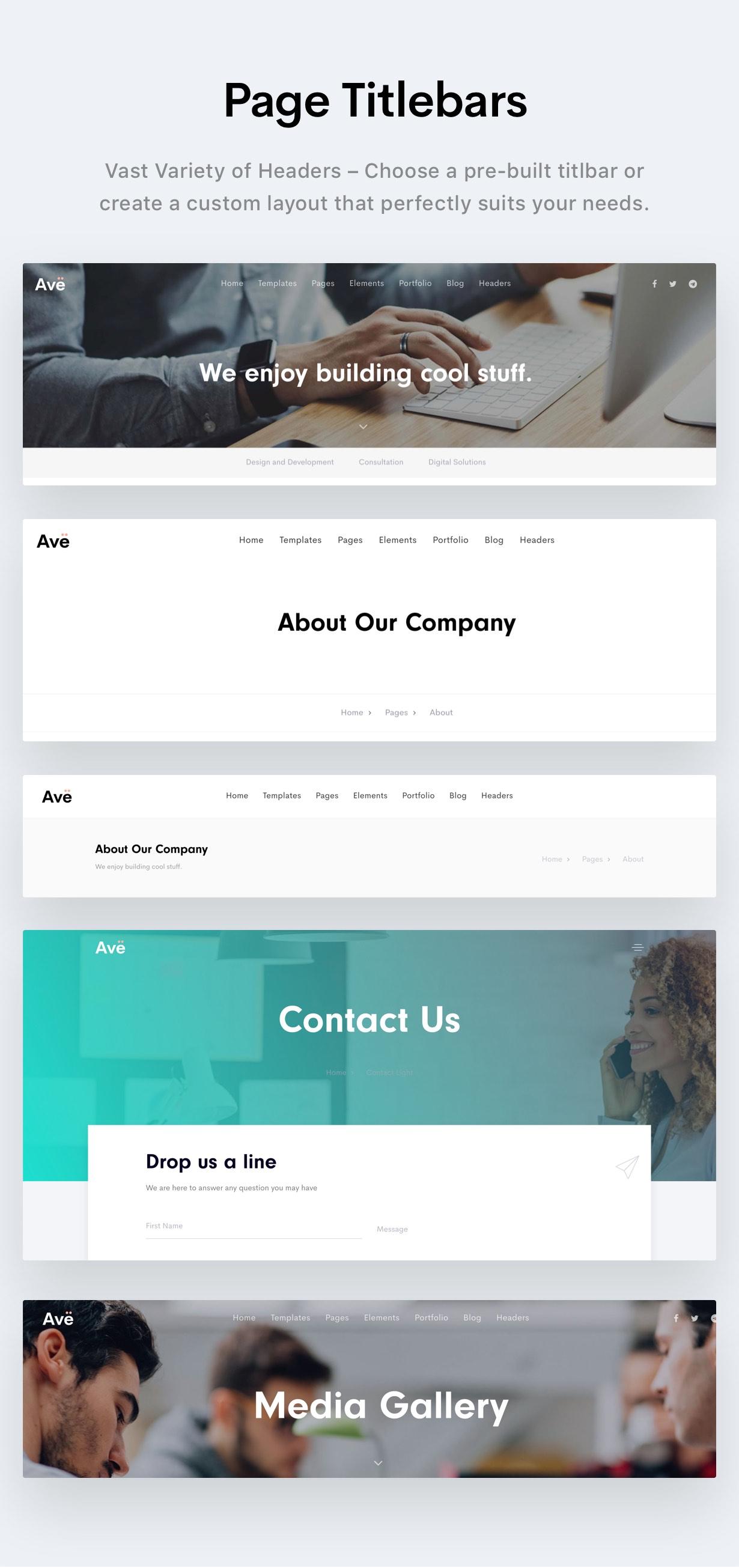 titlebars - Ave - HTML Responsive Multi Purpose Template
