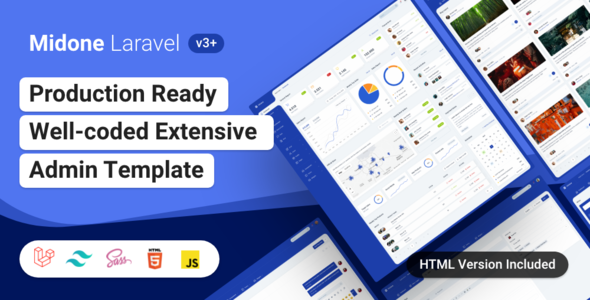 01 preview.  large preview - Midone - Laravel 8 Admin Dashboard Template + HTML Version + XD Design File
