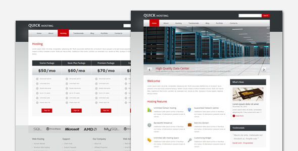 01 quickhost preview.  large preview - Quick Host - Business and Hosting WordPress Theme