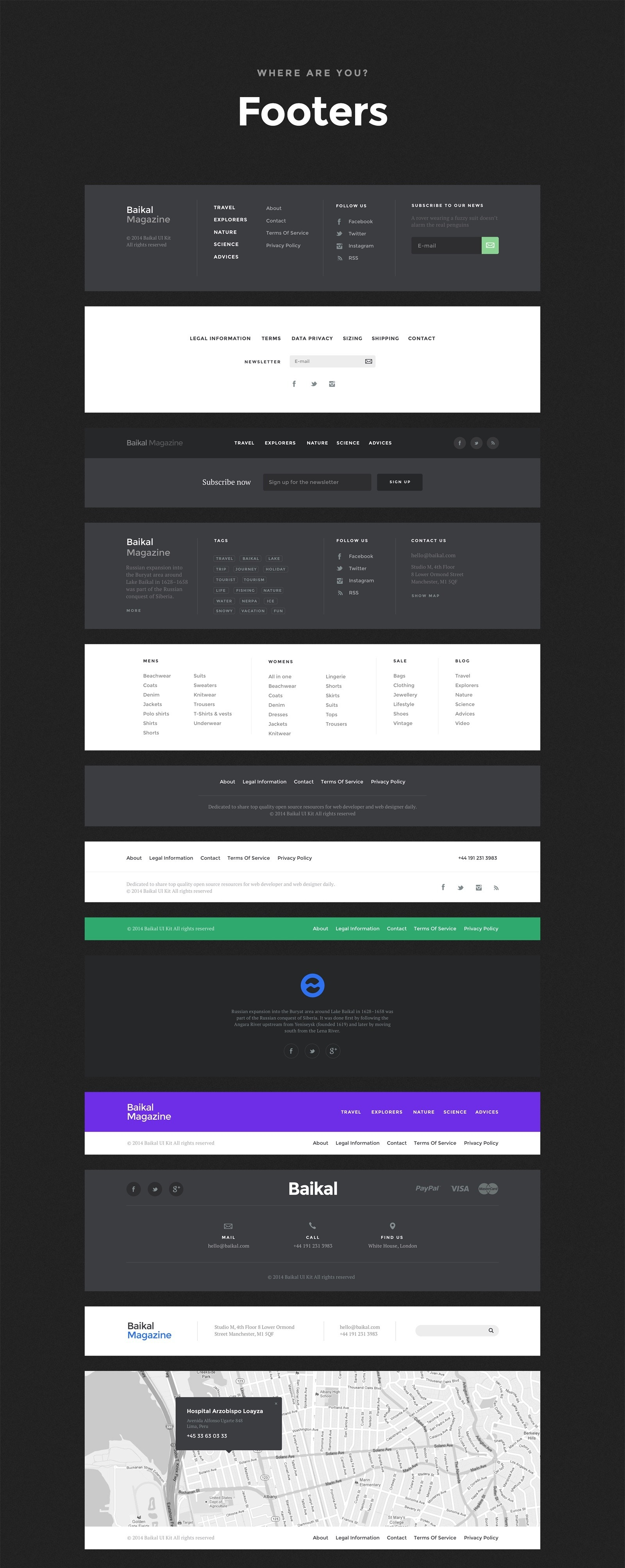 11 Footers - Baikal UI Kit - Huge Set Of UI Components