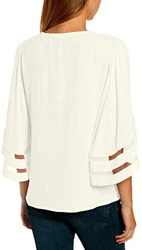 310WBvinrnL. AC  - LookbookStore Women's V Neck Mesh Panel Blouse 3/4 Bell Sleeve Loose Top Shirt