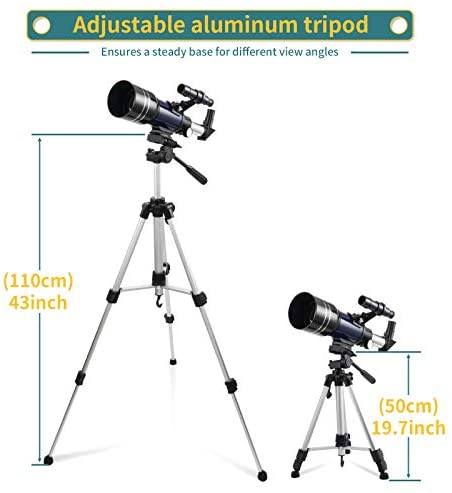 411Cy8zFh1L. AC  - BNISE Telescope for Kids 10 and Up, 70mm Aperture 300mm Kids Telescope for Astronomy Beginners, 15-150X Astronomical Refractor Telescope with Adjustable Tripod, Phone Adapter, Wire Shutter and Bag