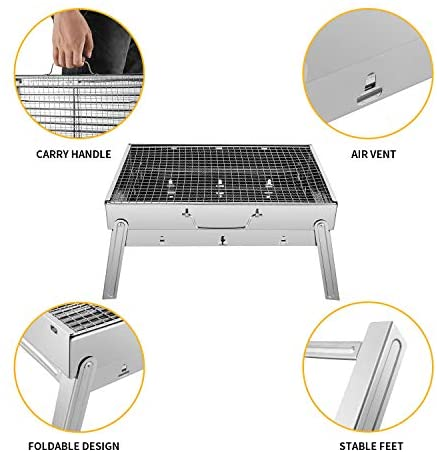 419NbzYv5nL. AC  - Sunkorto 15.4x10.6x8 Inch Folded Charcoal BBQ Grill Set, Stainless Steel Portable Folding Charcoal Barbecue Grill, Barbecue Tool Kits for Outdoor Picnic Patio Backyard Camping Cooking