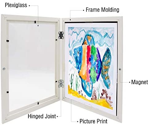 41CqMe8ss1L. AC  - Art Frames for Wall and Tabletop Display with Front Opening for Easy Showcase, Great for Kids Drawings, Artworks, Children Art Projects, Schoolwork, Home or Office (White, 8.5x11 Frame, 2-Pack)