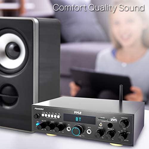41N QU6lOOL. AC  - Pyle PDA6BU.5 Compact Bluetooth Stereo Amplifier - Desktop Audio Power Amp Receiver with FM Radio, MP3/USB/SD Readers, Digital LCD Display, Microphone Input (200 Watt), Black