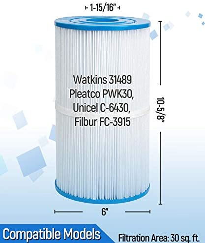 41Ou4z4SWPL. AC  - Future Way Hot Tub Filter Replacement for Watkins 31489, Pleatco PWK30, Filbur FC-3915, Unicel C-6430 71825, 73178, 73250, NSF-Certified Powerful Fitration Hot Spring Spa Filter 30 sq. ft, 2 Pack