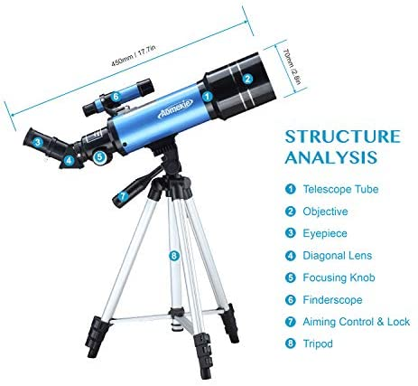 41QaDqImX+L. AC  - AOMEKIE Telescopes for Adults Astronomy Beginners 70mm/400mm Kids Telescope with Phone Adapter Tripod Finderscope Erect-Image Diagonal and Moon Filter