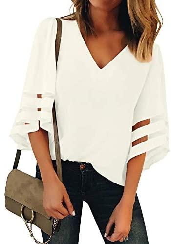41VcnoHeImL. AC  - LookbookStore Women's V Neck Mesh Panel Blouse 3/4 Bell Sleeve Loose Top Shirt