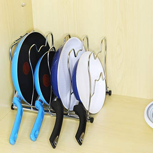 41aM1uImsLL. AC  - SimpleHouseware Kitchen Cabinet Pantry Pan and Pot Lid Organizer Rack Holder, Chrome