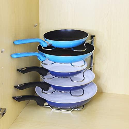 41kpfJuOsgL. AC  - SimpleHouseware Kitchen Cabinet Pantry Pan and Pot Lid Organizer Rack Holder, Chrome