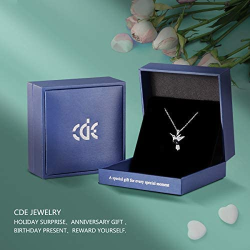 41rkPl68PuL. AC  - CDE Valentines Day Necklace Gifts for Women Hummingbird Necklaces S925 Sterling Silver Necklaces for Women Embellished with Crystals from Austria Valentines Jewelry Gifts for Women Animal Necklace for Girlfriend Mom
