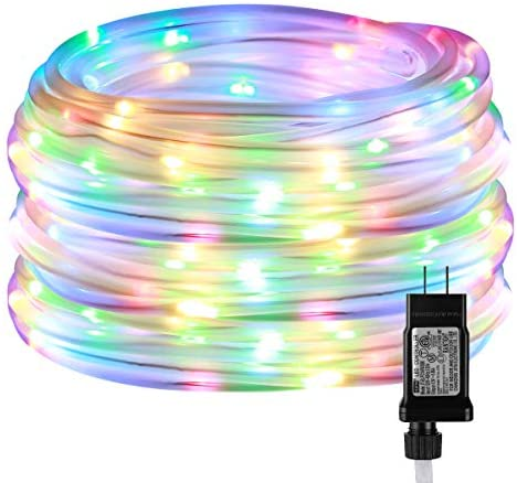 41sXI3fbrtL. AC  - LE LED Rope Light with Timer, Multi Colored, 8 Mode, Low Voltage, Waterproof, 33ft 100 LED Indoor Outdoor Plug in Light Rope and String for Deck, Patio, Bedroom, Pool, Boat,Landscape Lighting and More