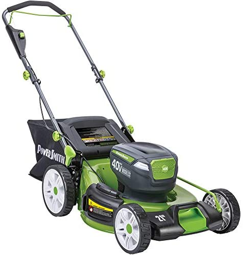 41u2GHyXH5L. AC  - POWERSMITH PLM14021H 21 in. 40V Brushless Cordless Lithium Ion Battery Powered Lawn Mower with (2) 40V Batteries and Charger, Bagger, Mulch and Side Discharge Attachements Included