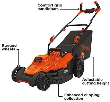 41uFeFzgKoL. AC  - BLACK+DECKER Electric Lawn Mower, 10 -Amp, 15-Inch (BEMW472BH)