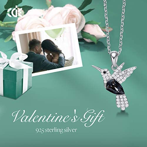 41uVLYFvTtL. AC  - CDE Valentines Day Necklace Gifts for Women Hummingbird Necklaces S925 Sterling Silver Necklaces for Women Embellished with Crystals from Austria Valentines Jewelry Gifts for Women Animal Necklace for Girlfriend Mom