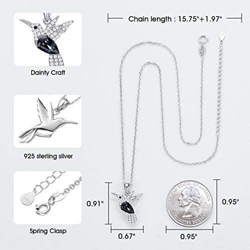 41voX9N7zeL. AC  - CDE Valentines Day Necklace Gifts for Women Hummingbird Necklaces S925 Sterling Silver Necklaces for Women Embellished with Crystals from Austria Valentines Jewelry Gifts for Women Animal Necklace for Girlfriend Mom