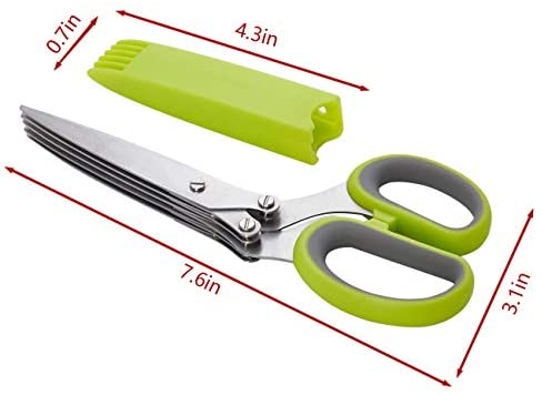 41xZ6BEU9oL. AC  - LHS Herb Scissors with 5 Multi Stainless Steel Blades and Safe Cover Kitchen Gadgets Cutter, Kitchen Chopping Shear, Mincer, Sharp Dishwasher Safe Kitchen Gadget, Culinary Cutter