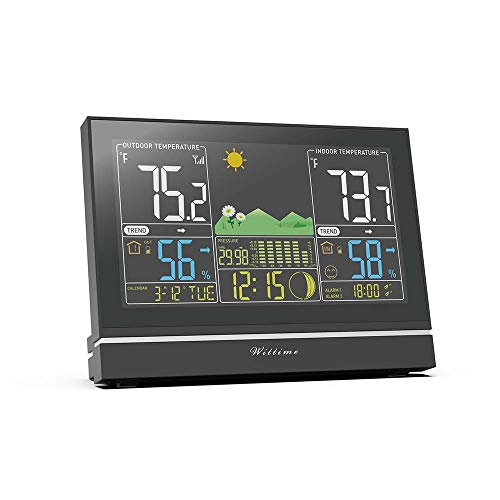 41ybzIBOkFL - Wittime Latest 2076 Weather Station, Wireless Indoor Outdoor Thermometer, High Precision Temperature and Humidity, Weather Forecast and Barometer, Calendar with Moon Phase, 7.5-inch HD Large Screen