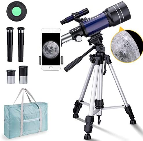 510zASfGLzL. AC  - BNISE Telescope for Kids 10 and Up, 70mm Aperture 300mm Kids Telescope for Astronomy Beginners, 15-150X Astronomical Refractor Telescope with Adjustable Tripod, Phone Adapter, Wire Shutter and Bag