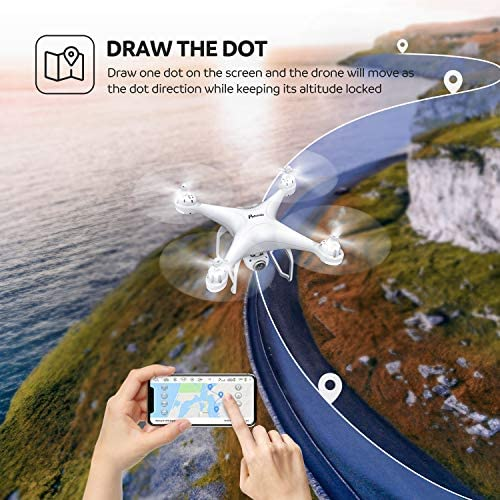 511Rax9SnwL. AC  - Potensic T25 GPS Drone, FPV RC Drone with Camera 1080P HD WiFi Live Video, Dual GPS Return Home, Quadcopter with Adjustable Wide-Angle Camera- Follow Me, Altitude Hold, Long Control Range, White