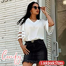 514c2645 28d9 44a4 8f53 72cc29aa348a.  CR0,0,300,300 PT0 SX220 V1    - LookbookStore Women's V Neck Mesh Panel Blouse 3/4 Bell Sleeve Loose Top Shirt