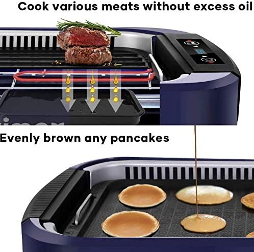5165IM76FdL. AC  - Indoor Grill Electric Grill Griddle CUSIMAX Smokeless Grill, Portable Korean BBQ Grill with Turbo Smoke Extractor Technology, Non-stick Removable Plates, Dishwasher-Safe, Tempered Glass Lid,1500W