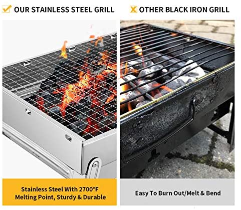 516qiIiDMzL. AC  - Sunkorto 15.4x10.6x8 Inch Folded Charcoal BBQ Grill Set, Stainless Steel Portable Folding Charcoal Barbecue Grill, Barbecue Tool Kits for Outdoor Picnic Patio Backyard Camping Cooking