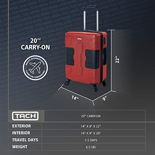 517vzScH4aL. AC  - TACH V3 Hard Shell Carry On Luggage 22x14x9 | Carry on Luggage with Spinner Wheels & Patented Built-In Connecting System | One Piece Rolling Suitcase Links 6 Bags At Once (Red)